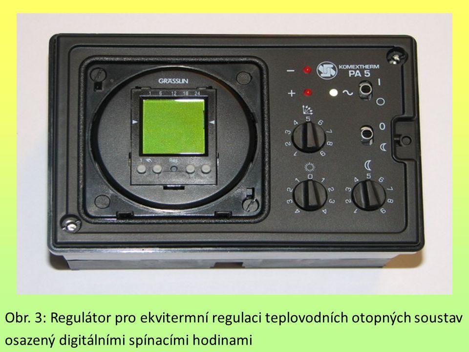 Obr. 3: Regulátor pro ekvitermní regulaci teplovodních otopných soustav osazený digitálními spínacími hodinami