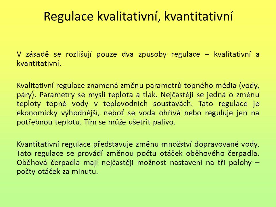 Regulace kvalitativní, kvantitativní V zásadě se rozlišují pouze dva způsoby regulace – kvalitativní a kvantitativní. Kvalitativní regulace znamená zm