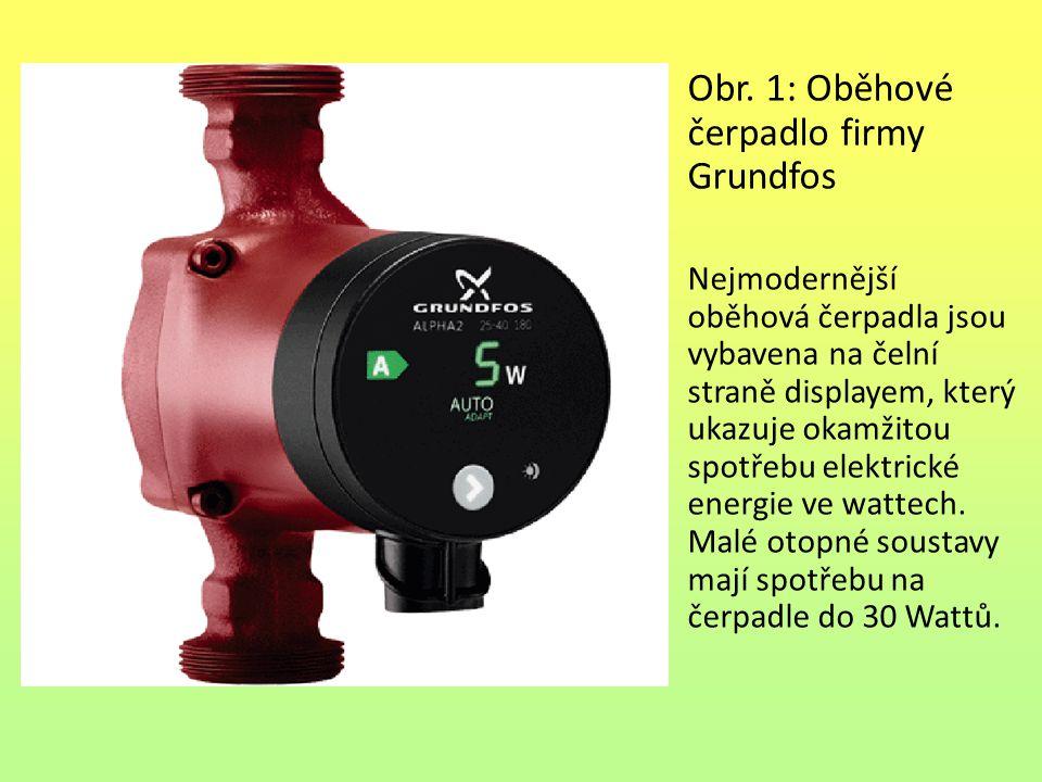 Obr. 1: Oběhové čerpadlo firmy Grundfos Nejmodernější oběhová čerpadla jsou vybavena na čelní straně displayem, který ukazuje okamžitou spotřebu elekt