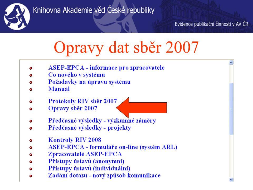 Opravy dat sběr 2007