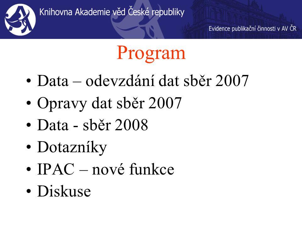 Program Data – odevzdání dat sběr 2007 Opravy dat sběr 2007 Data - sběr 2008 Dotazníky IPAC – nové funkce Diskuse