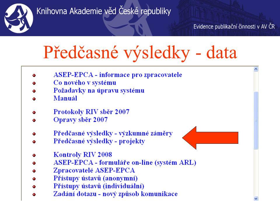 Předčasné výsledky - data