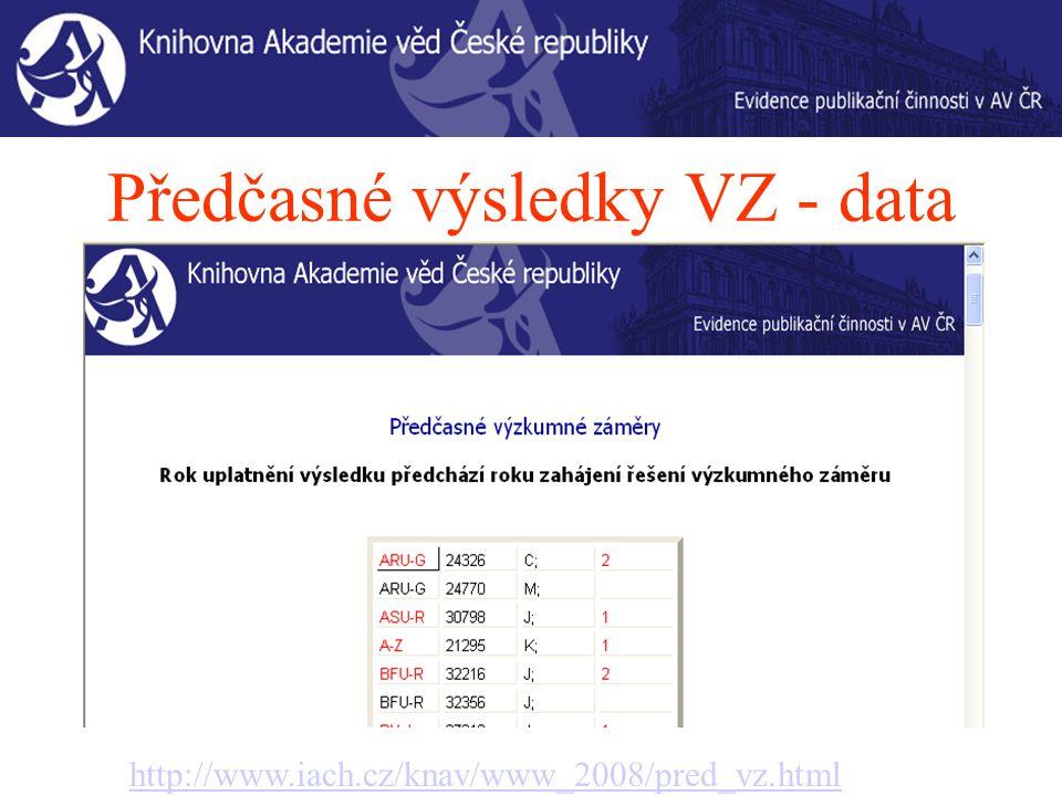 Předčasné výsledky VZ - data http://www.iach.cz/knav/www_2008/pred_vz.html
