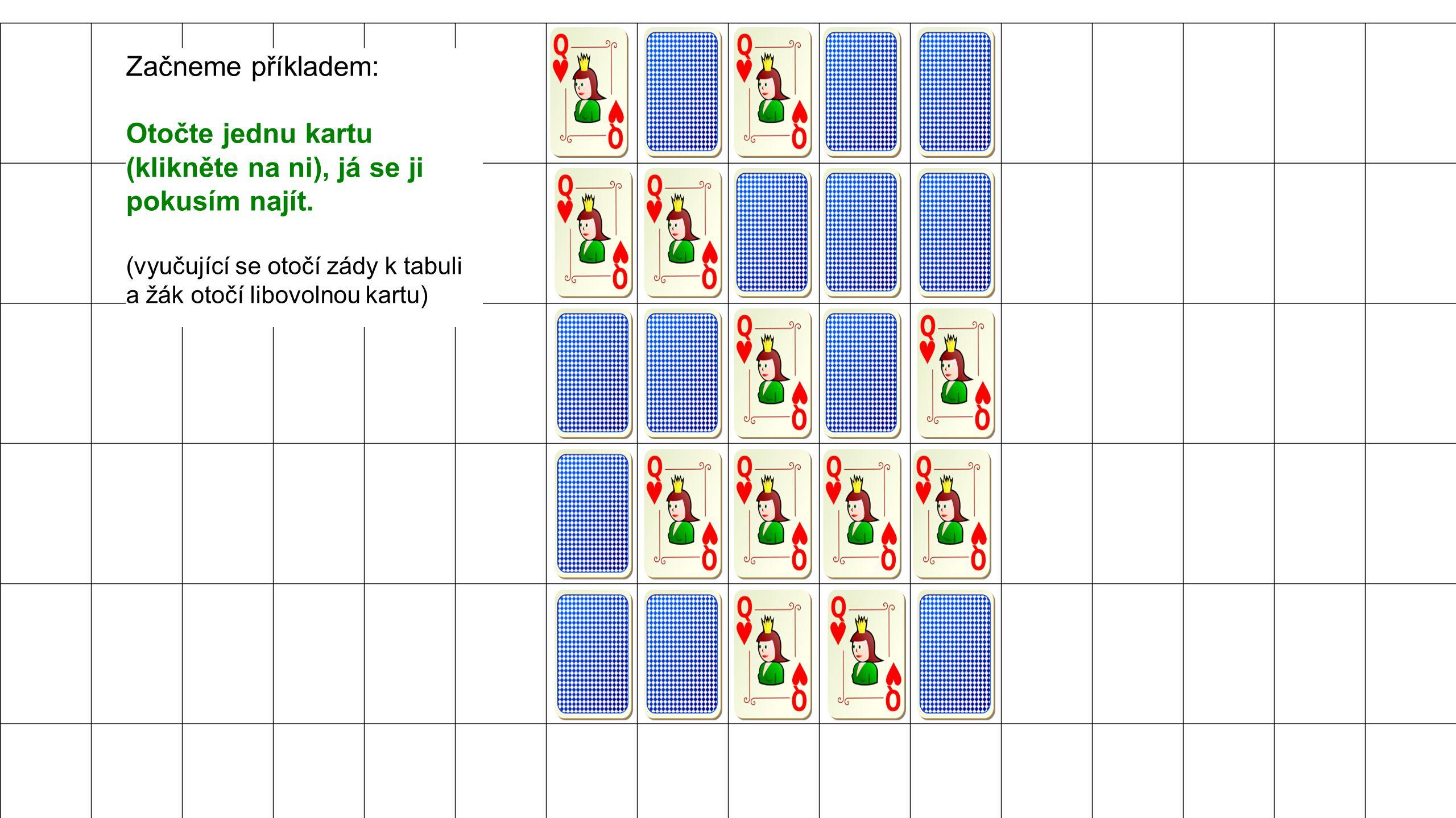 Začneme příkladem: Otočte jednu kartu (klikněte na ni), já se ji pokusím najít.