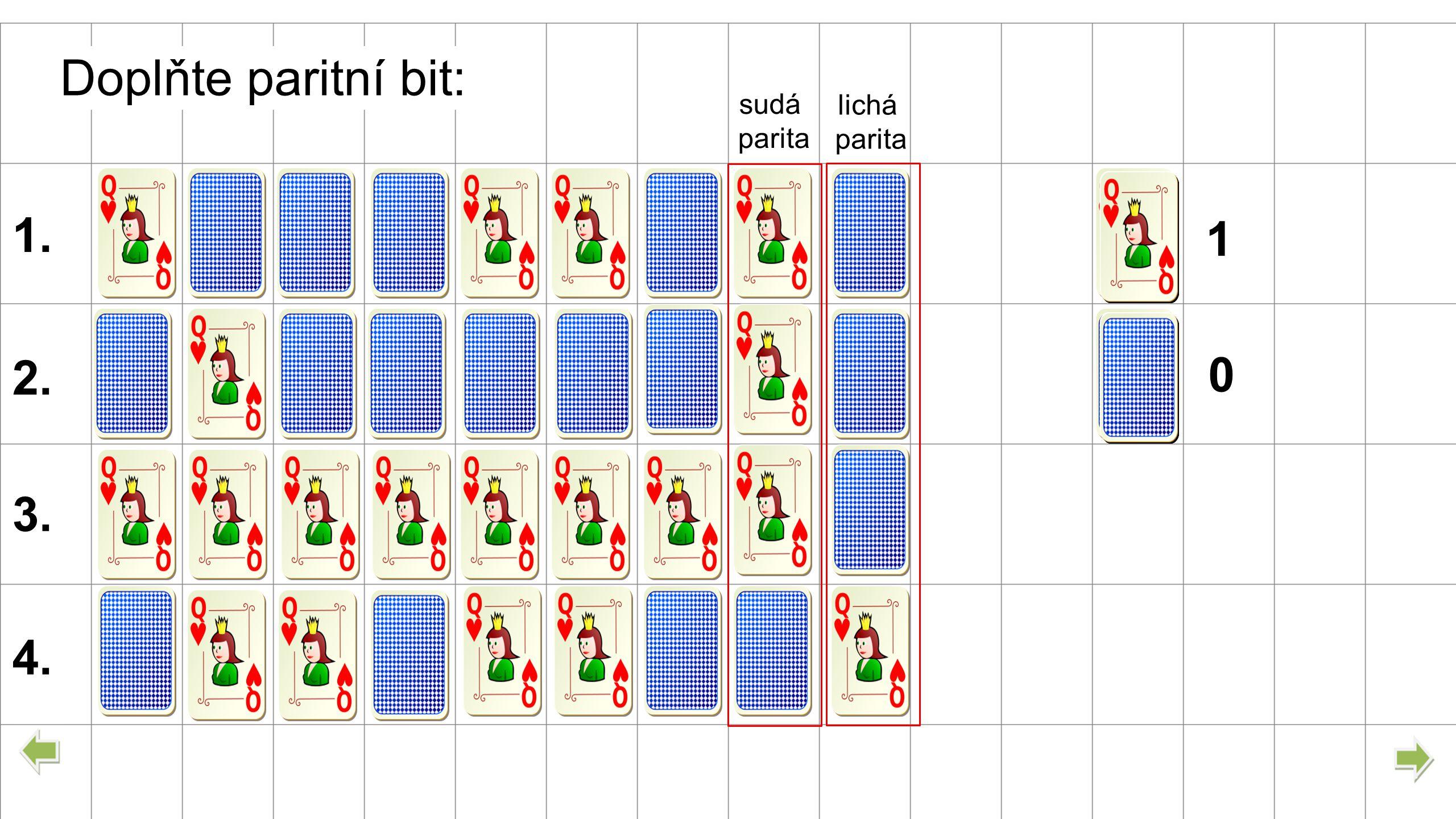 0 1 1. Doplňte paritní bit: 2. 3. 4. sudá parita lichá parita