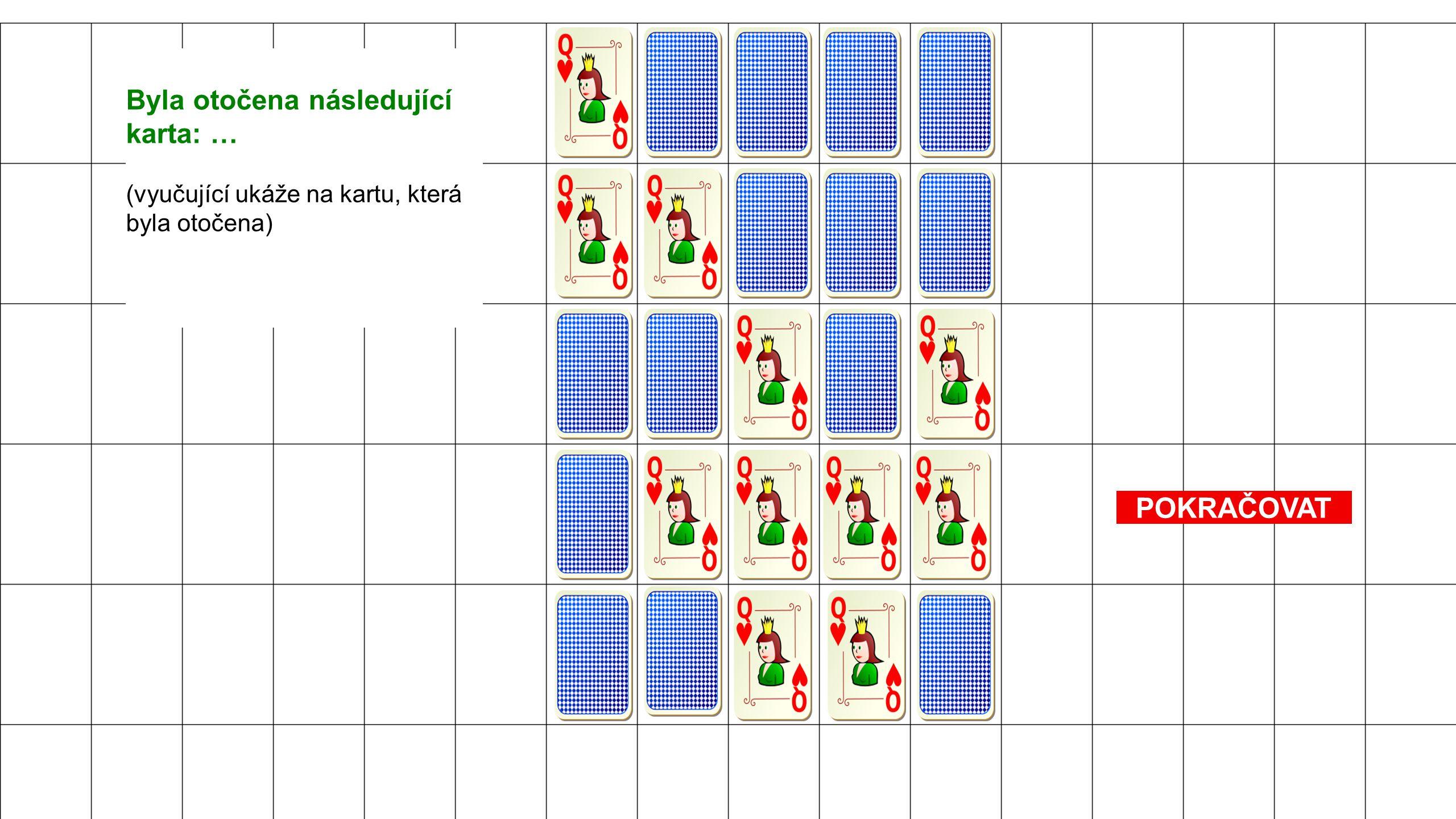 POKRAČOVAT Byla otočena následující karta: … (vyučující ukáže na kartu, která byla otočena)