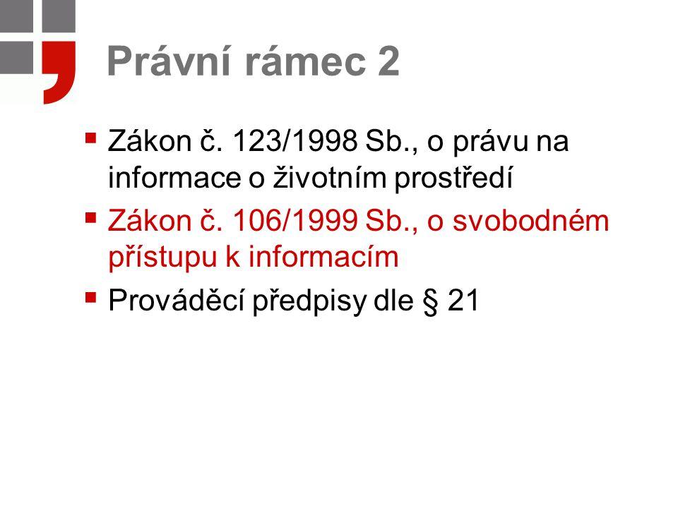 Právní rámec 2  Zákon č. 123/1998 Sb., o právu na informace o životním prostředí  Zákon č. 106/1999 Sb., o svobodném přístupu k informacím  Provádě
