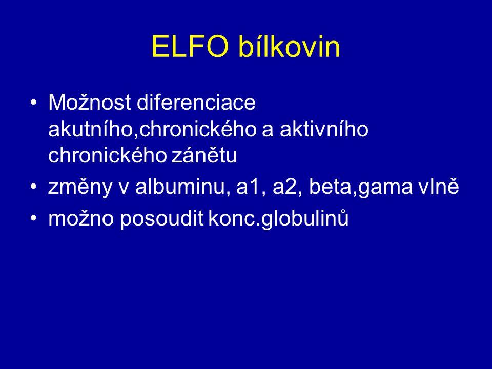 ELFO bílkovin Možnost diferenciace akutního,chronického a aktivního chronického zánětu změny v albuminu, a1, a2, beta,gama vlně možno posoudit konc.gl