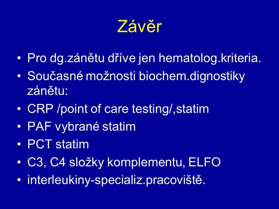Závěr Pro dg.zánětu dříve jen hematolog.kriteria. Současné možnosti biochem.dignostiky zánětu: CRP /point of care testing/,statim PAF vybrané statim P