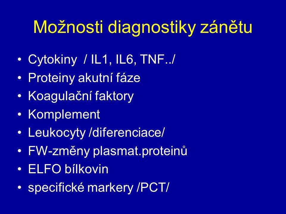 Možnosti diagnostiky zánětu Cytokiny / IL1, IL6, TNF../ Proteiny akutní fáze Koagulační faktory Komplement Leukocyty /diferenciace/ FW-změny plasmat.p