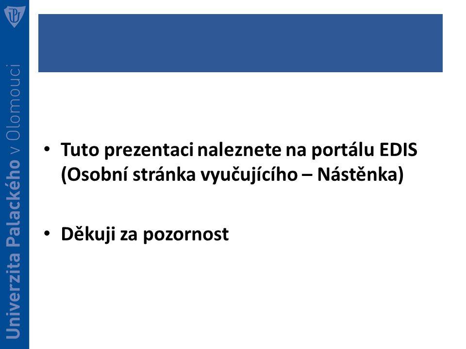 Tuto prezentaci naleznete na portálu EDIS (Osobní stránka vyučujícího – Nástěnka) Děkuji za pozornost