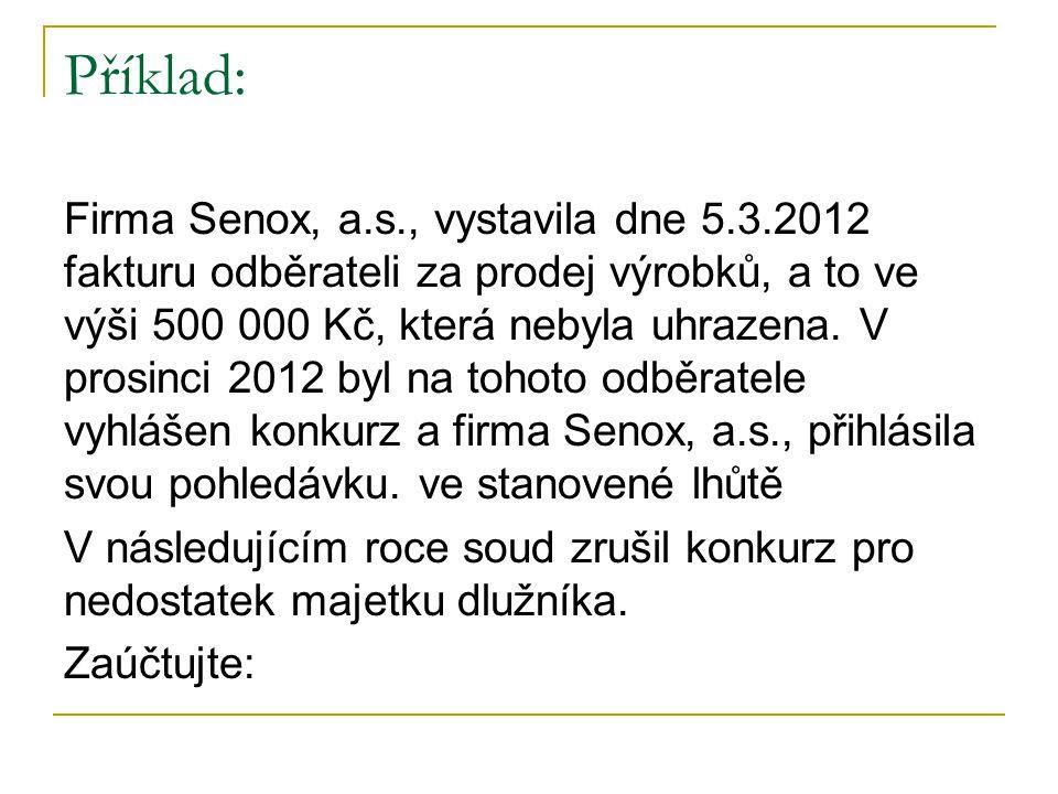 Příklad: Firma Senox, a.s., vystavila dne 5.3.2012 fakturu odběrateli za prodej výrobků, a to ve výši 500 000 Kč, která nebyla uhrazena.