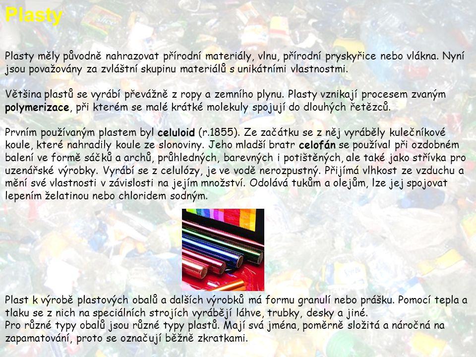 Plasty Plasty měly původně nahrazovat přírodní materiály, vlnu, přírodní pryskyřice nebo vlákna. Nyní jsou považovány za zvláštní skupinu materiálů s