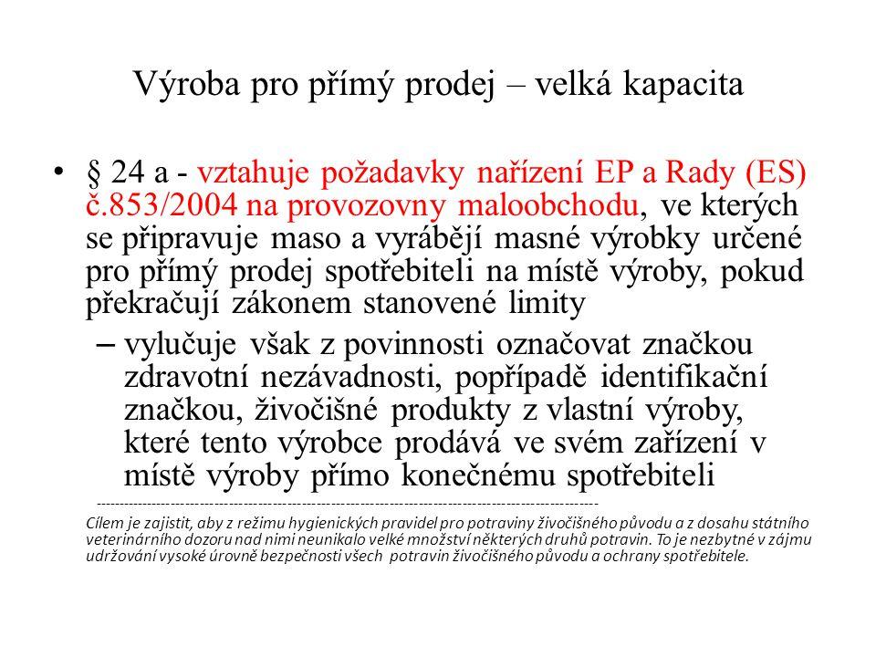 Výroba pro přímý prodej – velká kapacita § 24 a - vztahuje požadavky nařízení EP a Rady (ES) č.853/2004 na provozovny maloobchodu, ve kterých se připr