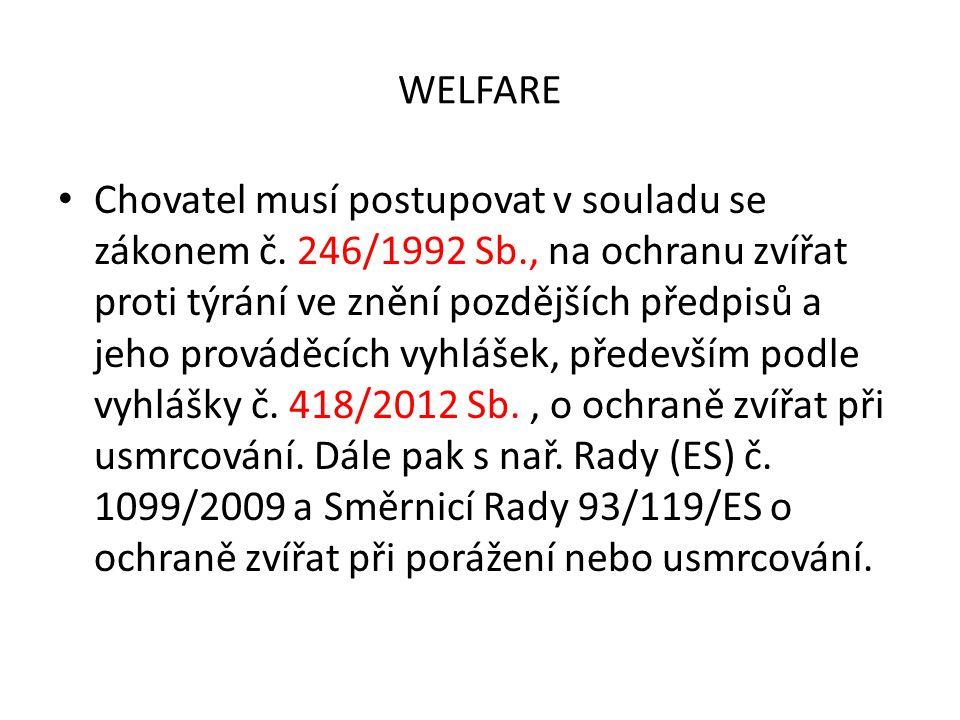 WELFARE Chovatel musí postupovat v souladu se zákonem č. 246/1992 Sb., na ochranu zvířat proti týrání ve znění pozdějších předpisů a jeho prováděcích