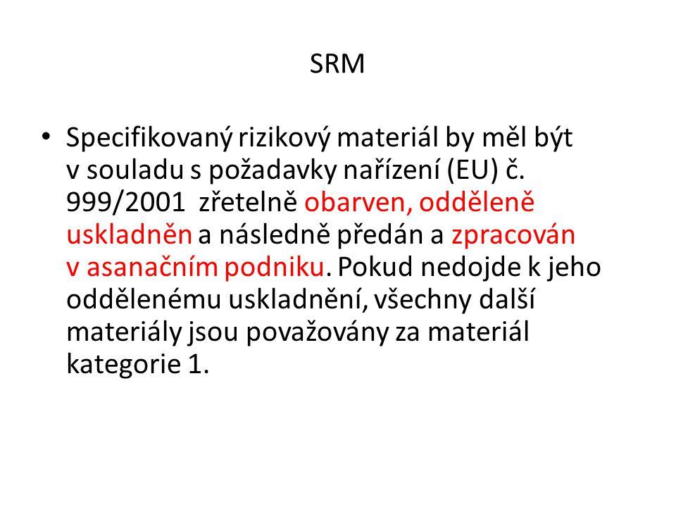 SRM Specifikovaný rizikový materiál by měl být v souladu s požadavky nařízení (EU) č. 999/2001 zřetelně obarven, odděleně uskladněn a následně předán