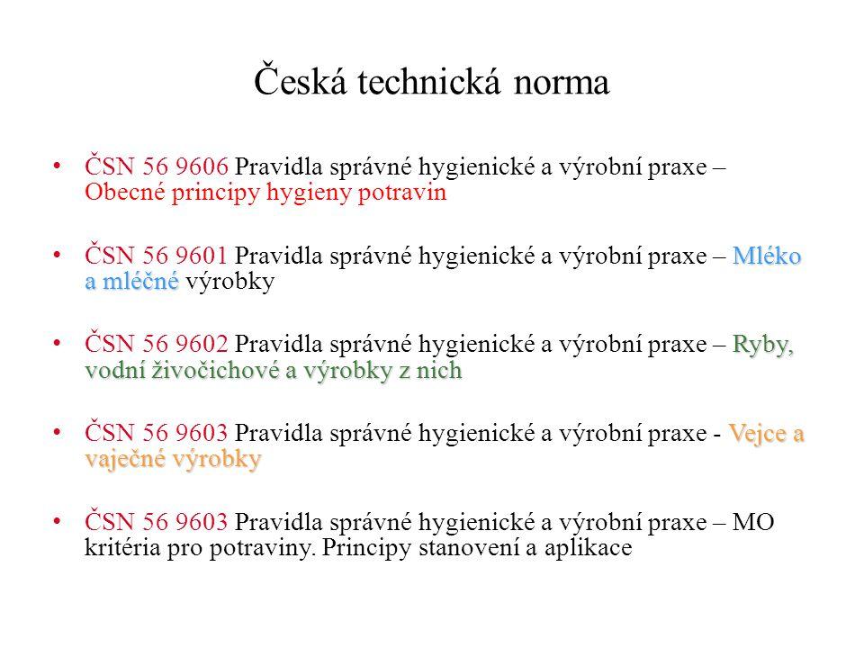 Česká technická norma ČSN 56 9606 Pravidla správné hygienické a výrobní praxe – Obecné principy hygieny potravin Mléko a mléčné ČSN 56 9601 Pravidla s