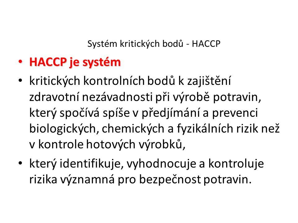 Systém kritických bodů - HACCP HACCP je systém HACCP je systém kritických kontrolních bodů k zajištění zdravotní nezávadnosti při výrobě potravin, kte