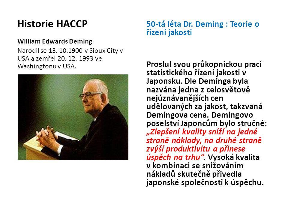 Historie HACCP 50-tá léta Dr. Deming : Teorie o řízení jakosti Proslul svou průkopnickou prací statistického řízení jakosti v Japonsku. Dle Deminga by