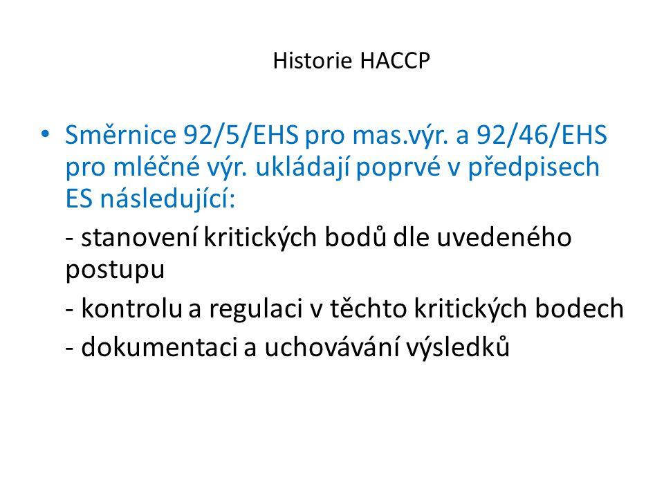 Historie HACCP Směrnice 92/5/EHS pro mas.výr. a 92/46/EHS pro mléčné výr. ukládají poprvé v předpisech ES následující: - stanovení kritických bodů dle