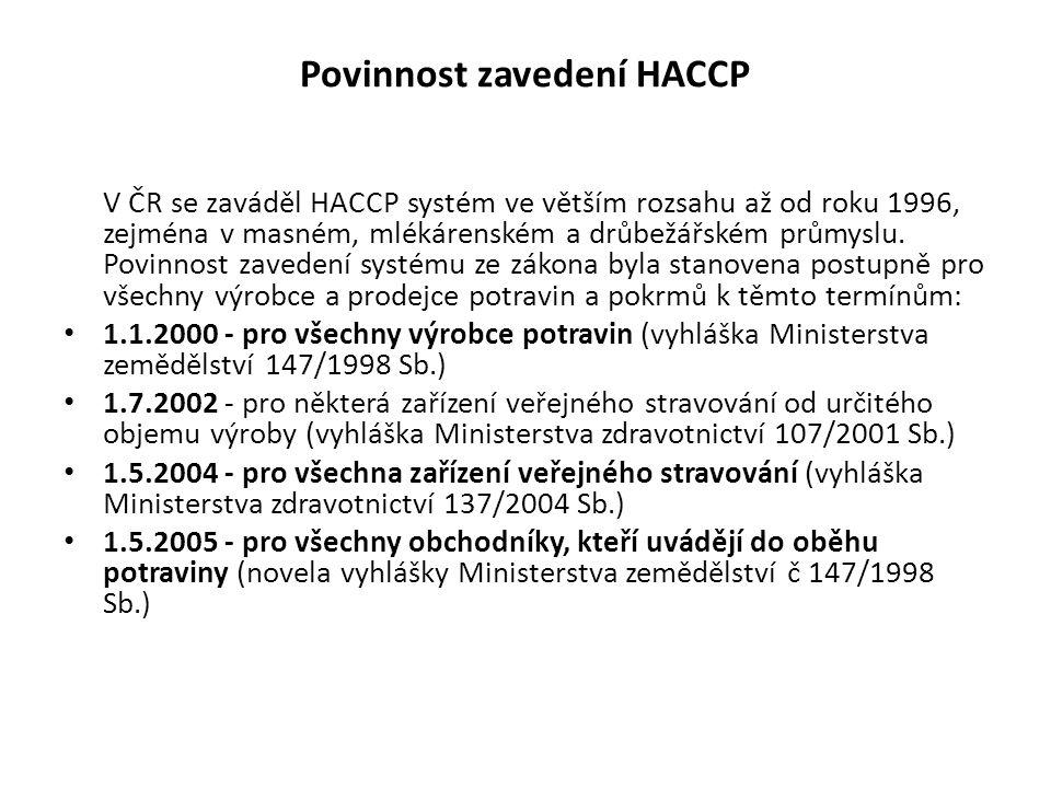Povinnost zavedení HACCP V ČR se zaváděl HACCP systém ve větším rozsahu až od roku 1996, zejména v masném, mlékárenském a drůbežářském průmyslu. Povin