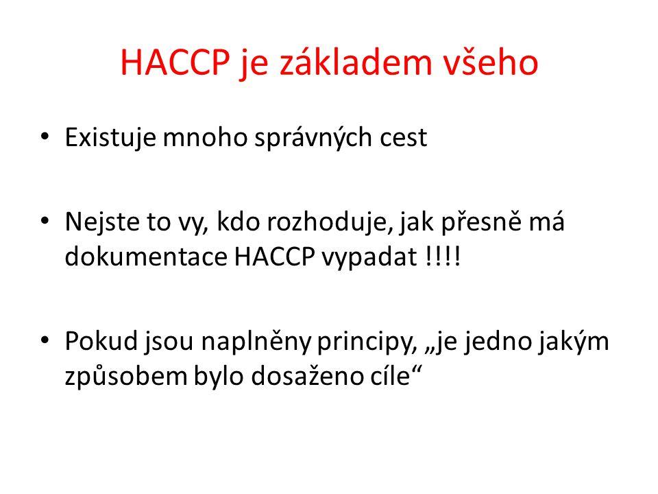 HACCP je základem všeho Existuje mnoho správných cest Nejste to vy, kdo rozhoduje, jak přesně má dokumentace HACCP vypadat !!!! Pokud jsou naplněny pr