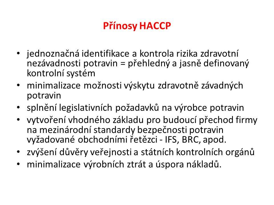 Přínosy HACCP jednoznačná identifikace a kontrola rizika zdravotní nezávadnosti potravin = přehledný a jasně definovaný kontrolní systém minimalizace