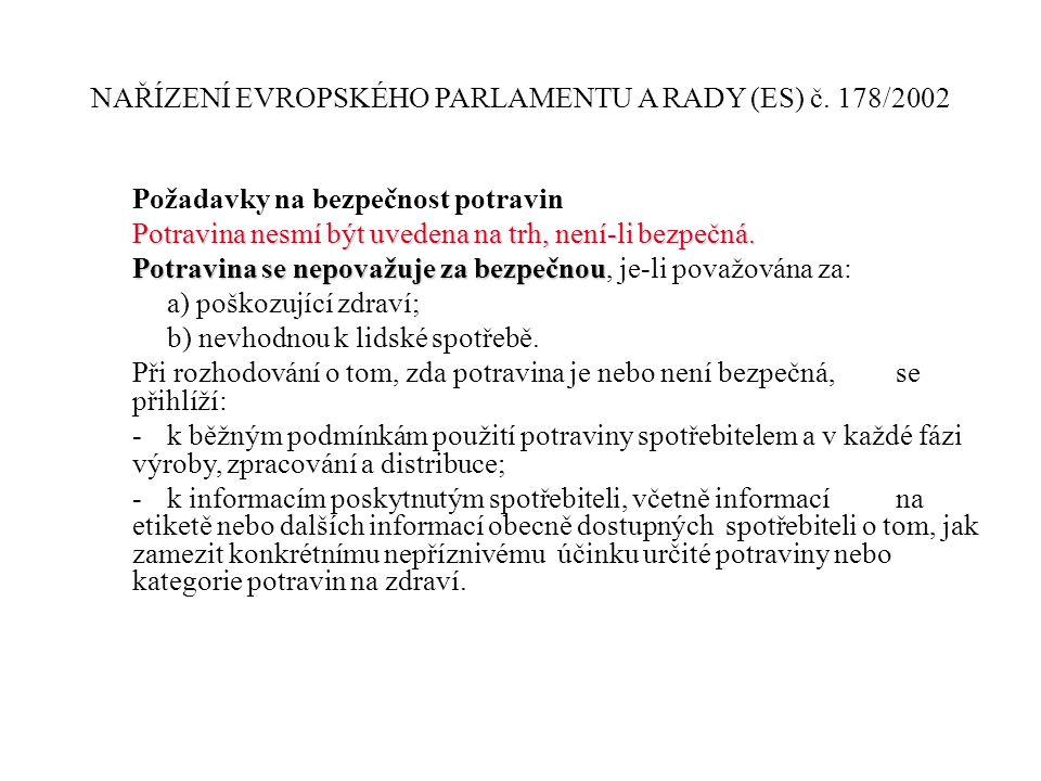 NAŘÍZENÍ EVROPSKÉHO PARLAMENTU A RADY (ES) č. 178/2002 Požadavky na bezpečnost potravin Potravina nesmí být uvedena na trh, není-li bezpečná. Potravin
