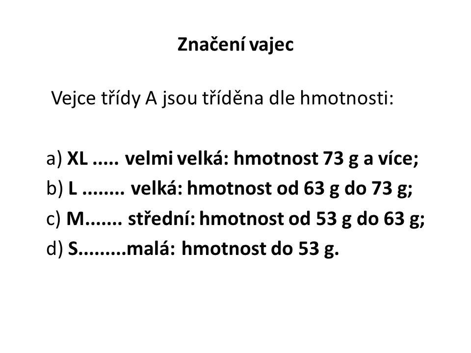 Značení vajec Vejce třídy A jsou tříděna dle hmotnosti: a) XL..... velmi velká: hmotnost 73 g a více; b) L........ velká: hmotnost od 63 g do 73 g; c)