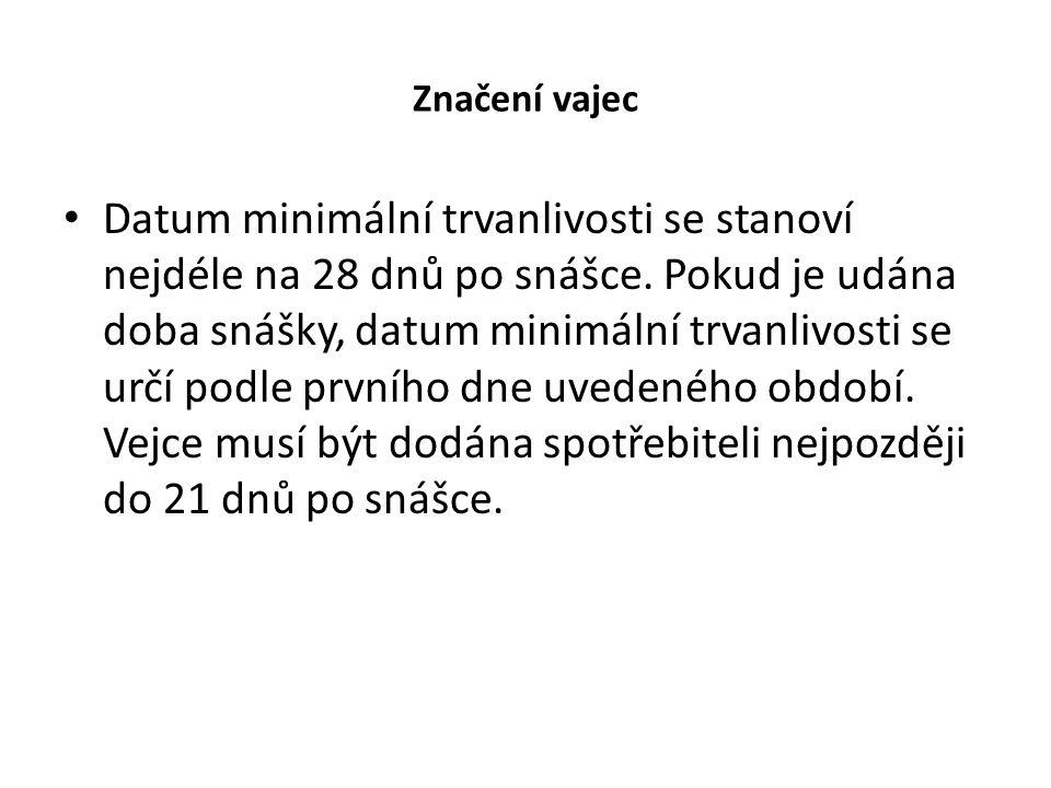Značení vajec Datum minimální trvanlivosti se stanoví nejdéle na 28 dnů po snášce. Pokud je udána doba snášky, datum minimální trvanlivosti se určí po