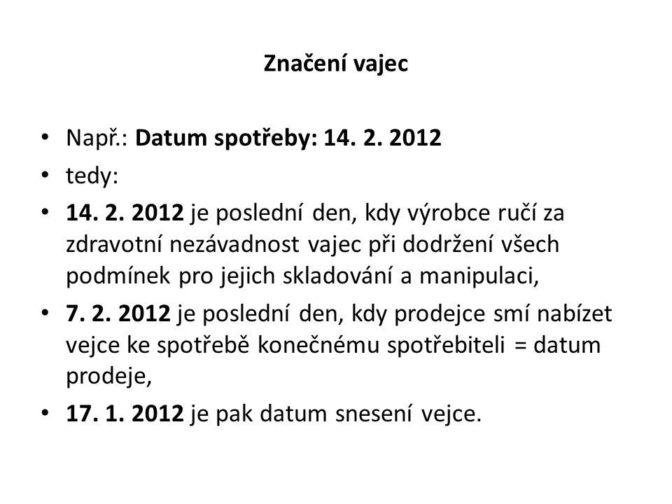 Značení vajec Např.: Datum spotřeby: 14. 2. 2012 tedy: 14. 2. 2012 je poslední den, kdy výrobce ručí za zdravotní nezávadnost vajec při dodržení všech