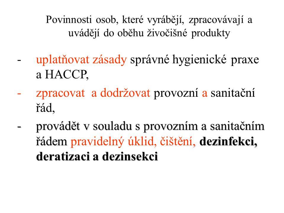 Povinnosti osob, které vyrábějí, zpracovávají a uvádějí do oběhu živočišné produkty -uplatňovat zásady správné hygienické praxe a HACCP, -zpracovat a