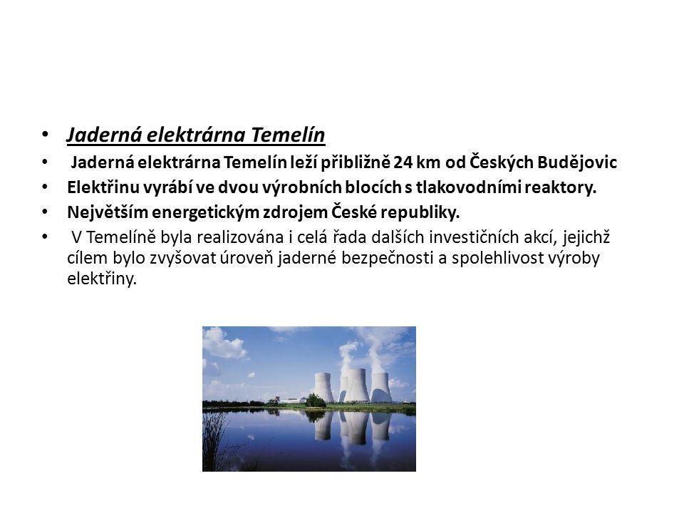 Jaderná elektrárna Temelín Jaderná elektrárna Temelín leží přibližně 24 km od Českých Budějovic Elektřinu vyrábí ve dvou výrobních blocích s tlakovodn