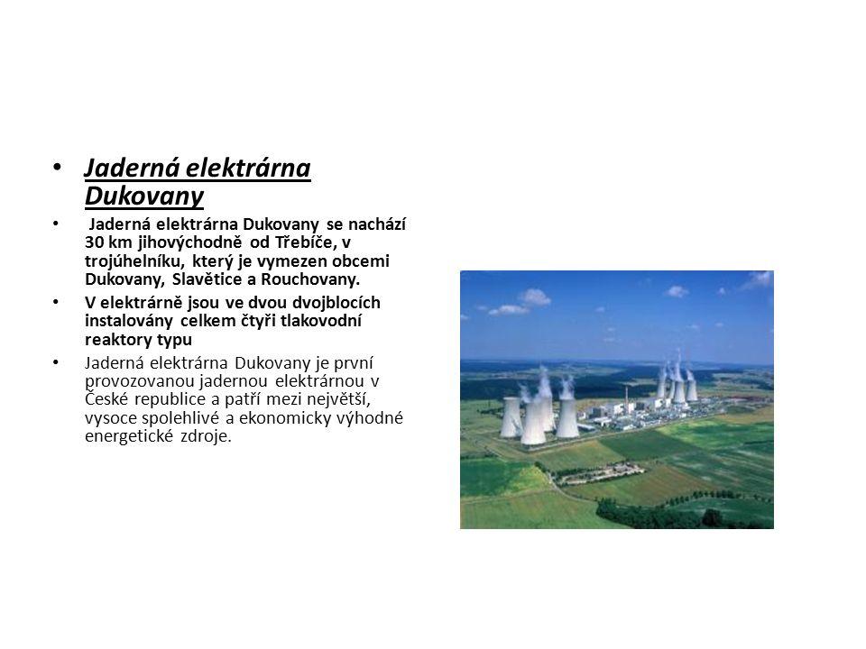 Jaderná elektrárna Dukovany Jaderná elektrárna Dukovany se nachází 30 km jihovýchodně od Třebíče, v trojúhelníku, který je vymezen obcemi Dukovany, Sl