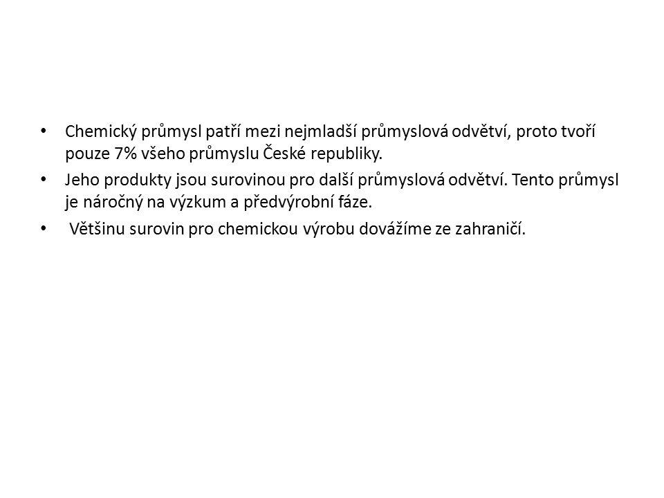Chemický průmysl patří mezi nejmladší průmyslová odvětví, proto tvoří pouze 7% všeho průmyslu České republiky. Jeho produkty jsou surovinou pro další