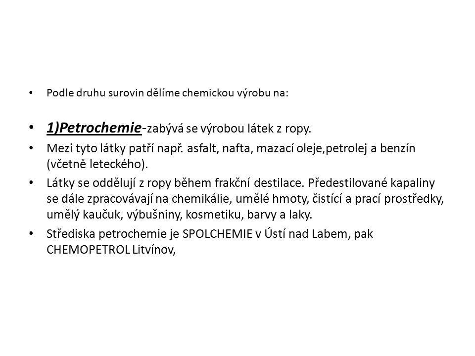 Podle druhu surovin dělíme chemickou výrobu na: 1)Petrochemie- zabývá se výrobou látek z ropy. Mezi tyto látky patří např. asfalt, nafta, mazací oleje