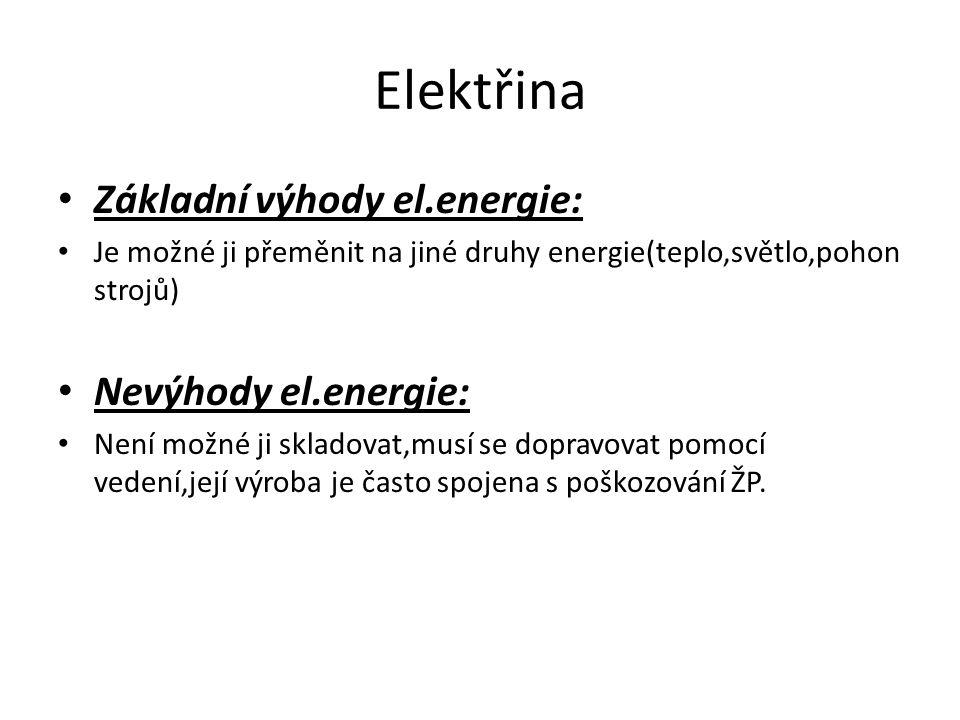 Elektřina Základní výhody el.energie: Je možné ji přeměnit na jiné druhy energie(teplo,světlo,pohon strojů) Nevýhody el.energie: Není možné ji skladov