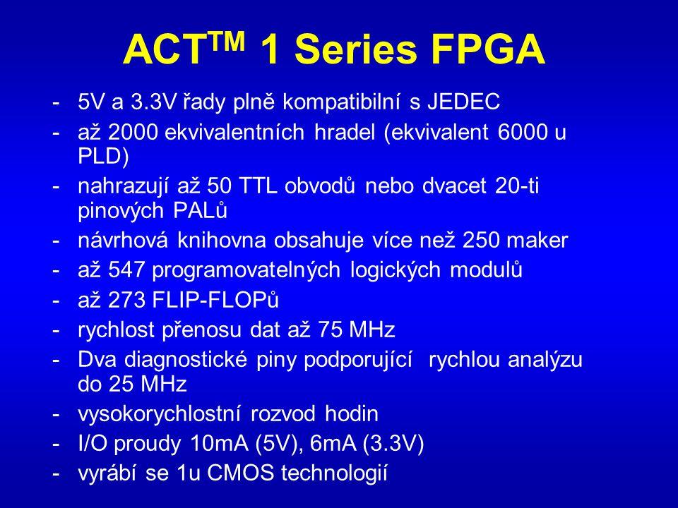 ACT TM 1 Series FPGA -5V a 3.3V řady plně kompatibilní s JEDEC -až 2000 ekvivalentních hradel (ekvivalent 6000 u PLD) -nahrazují až 50 TTL obvodů nebo dvacet 20-ti pinových PALů -návrhová knihovna obsahuje více než 250 maker -až 547 programovatelných logických modulů -až 273 FLIP-FLOPů -rychlost přenosu dat až 75 MHz -Dva diagnostické piny podporující rychlou analýzu do 25 MHz -vysokorychlostní rozvod hodin -I/O proudy 10mA (5V), 6mA (3.3V) -vyrábí se 1u CMOS technologií