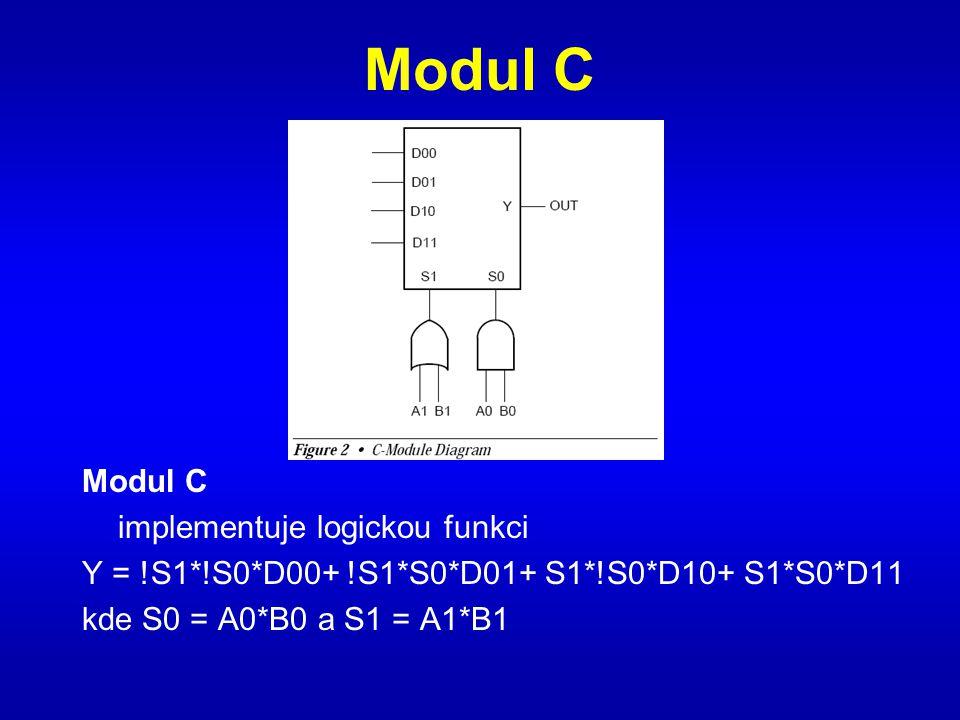 Modul C implementuje logickou funkci Y = !S1*!S0*D00+ !S1*S0*D01+ S1*!S0*D10+ S1*S0*D11 kde S0 = A0*B0 a S1 = A1*B1