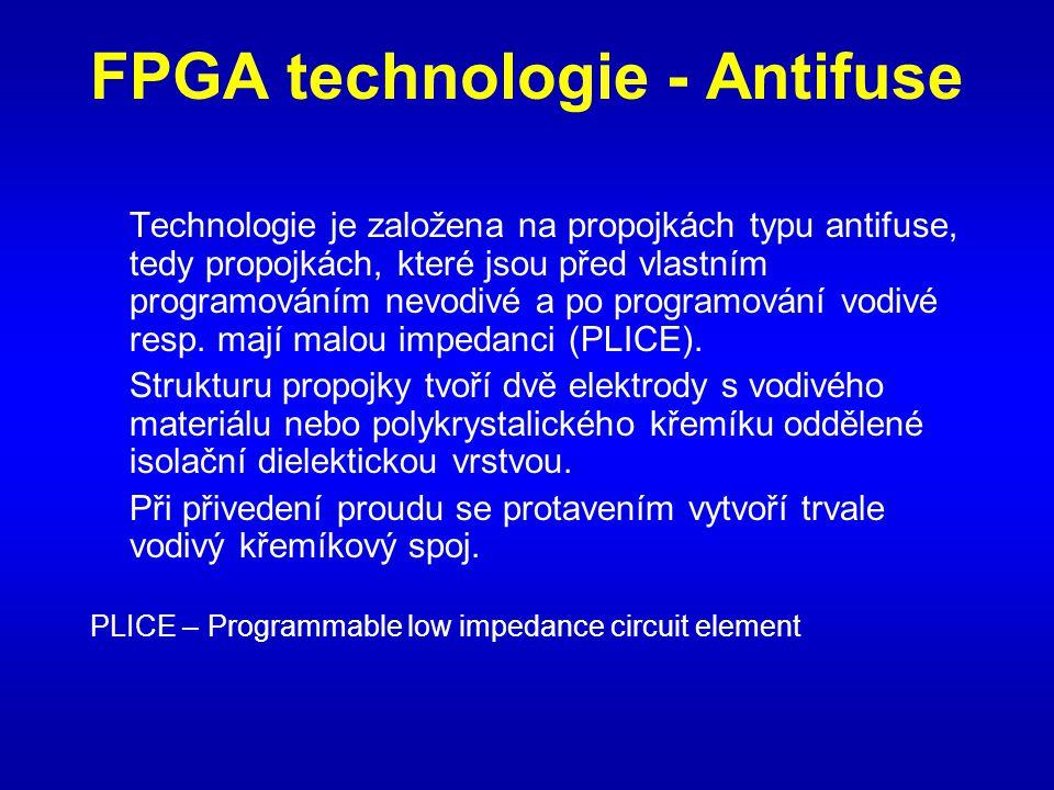 FPGA technologie - Antifuse Technologie je založena na propojkách typu antifuse, tedy propojkách, které jsou před vlastním programováním nevodivé a po programování vodivé resp.