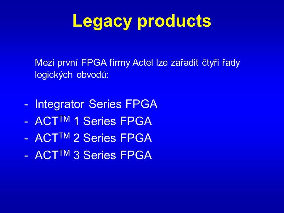 Legacy products Mezi první FPGA firmy Actel lze zařadit čtyři řady logických obvodů: -Integrator Series FPGA -ACT TM 1 Series FPGA -ACT TM 2 Series FPGA -ACT TM 3 Series FPGA