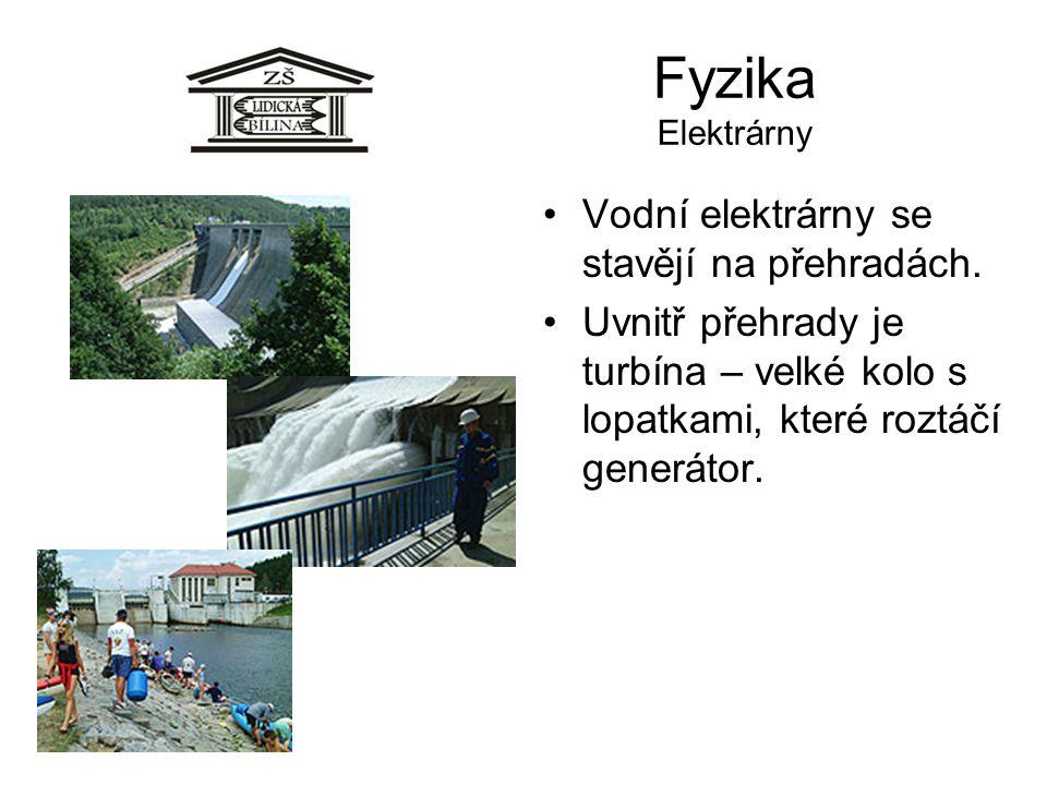 Fyzika Elektrárny Vodní elektrárny se stavějí na přehradách. Uvnitř přehrady je turbína – velké kolo s lopatkami, které roztáčí generátor.
