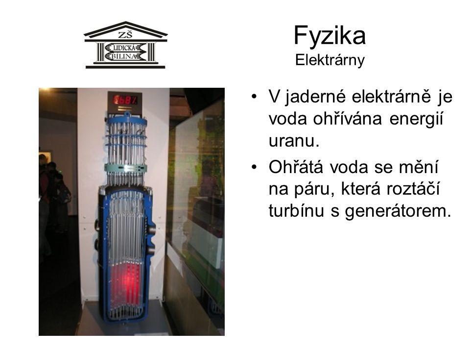 Fyzika Elektrárny V jaderné elektrárně je voda ohřívána energií uranu. Ohřátá voda se mění na páru, která roztáčí turbínu s generátorem.