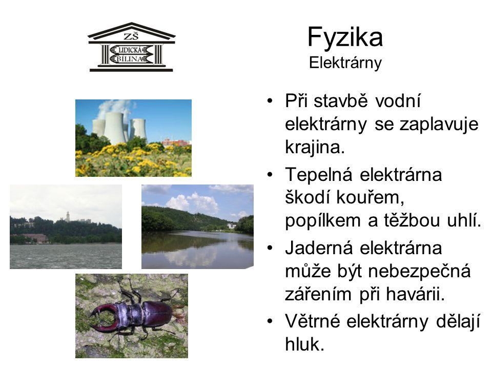 Fyzika Elektrárny Při stavbě vodní elektrárny se zaplavuje krajina. Tepelná elektrárna škodí kouřem, popílkem a těžbou uhlí. Jaderná elektrárna může b