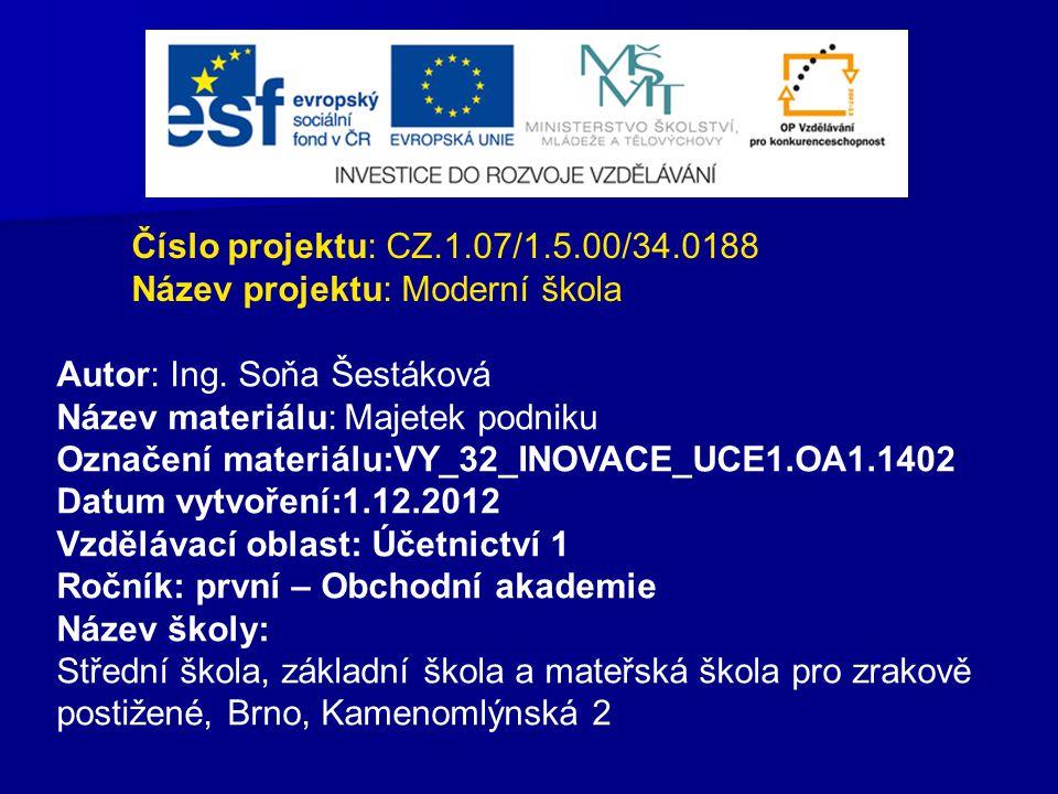 Číslo projektu: CZ.1.07/1.5.00/34.0188 Název projektu: Moderní škola Autor: Ing. Soňa Šestáková Název materiálu: Majetek podniku Označení materiálu:VY