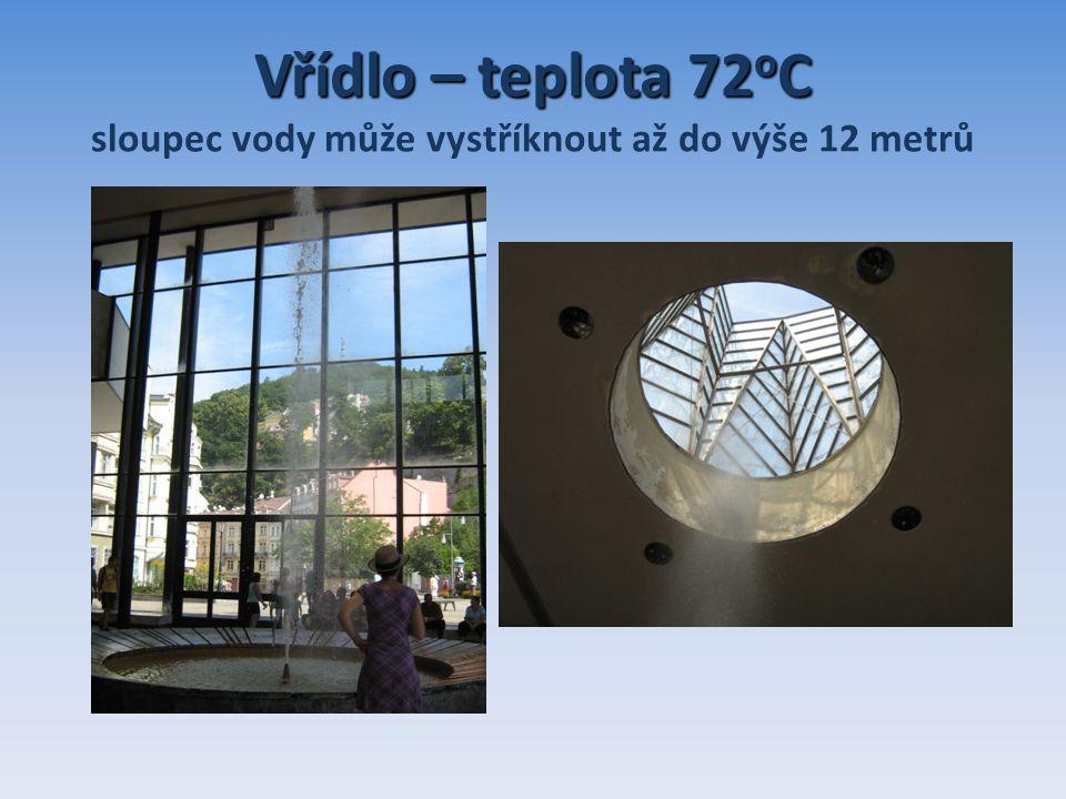 Vřídlo – teplota 72 o C Vřídlo – teplota 72 o C sloupec vody může vystříknout až do výše 12 metrů