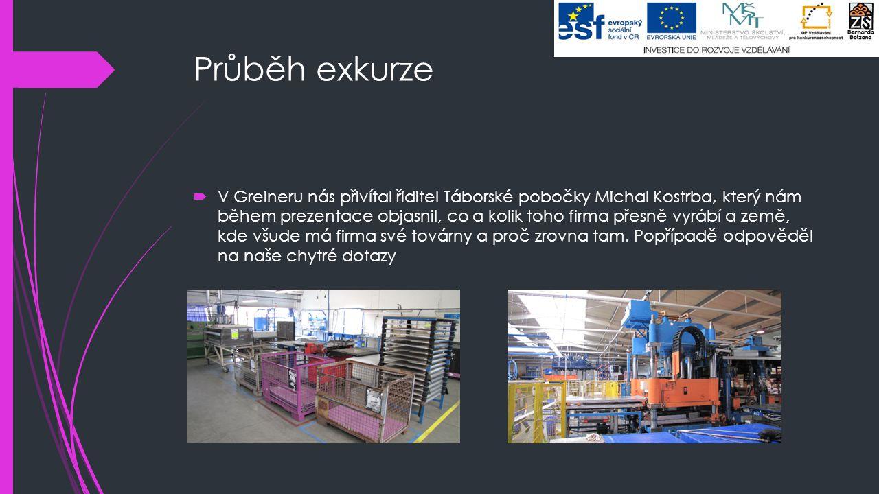 Průběh exkurze  V Greineru nás přivítal řiditel Táborské pobočky Michal Kostrba, který nám během prezentace objasnil, co a kolik toho firma přesně vy