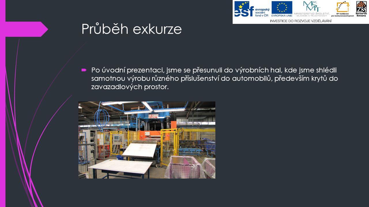 Průběh exkurze  Po úvodní prezentaci, jsme se přesunuli do výrobních hal, kde jsme shlédli samotnou výrobu různého příslušenství do automobilů, přede