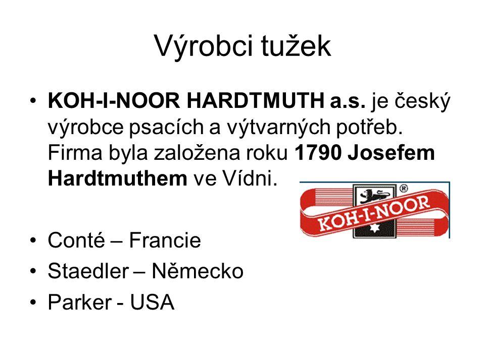 Výrobci tužek KOH-I-NOOR HARDTMUTH a.s. je český výrobce psacích a výtvarných potřeb. Firma byla založena roku 1790 Josefem Hardtmuthem ve Vídni. Cont