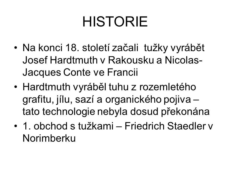 HISTORIE Na konci 18. století začali tužky vyrábět Josef Hardtmuth v Rakousku a Nicolas- Jacques Conte ve Francii Hardtmuth vyráběl tuhu z rozemletého